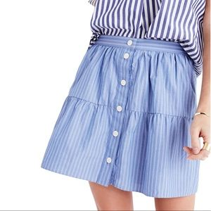 Madewell Striped Button-Front A Line Skirt 8-0442